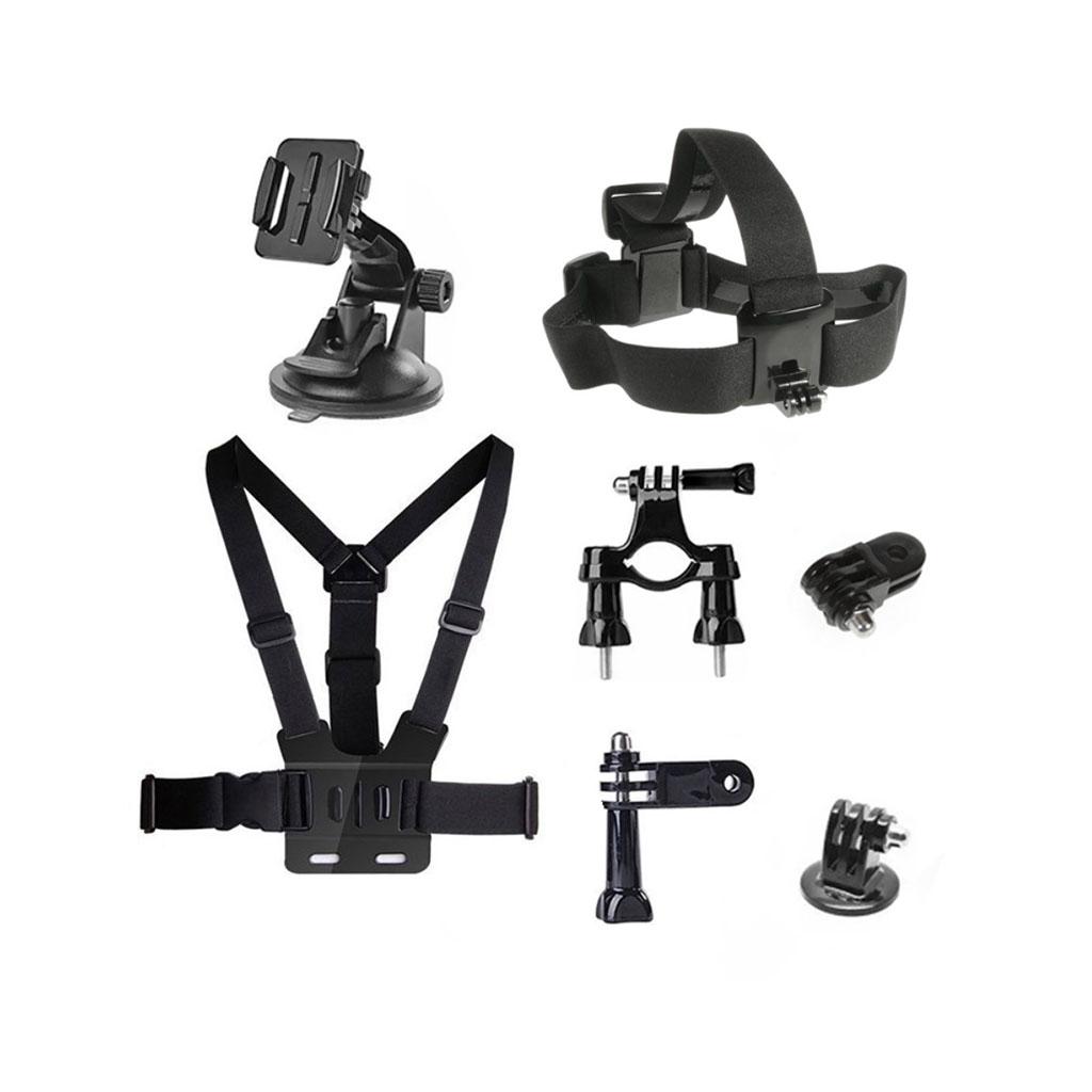 Image of   7-i-1 tilbehørskit til action kameraer med brystbælte og sugekopsbeslag