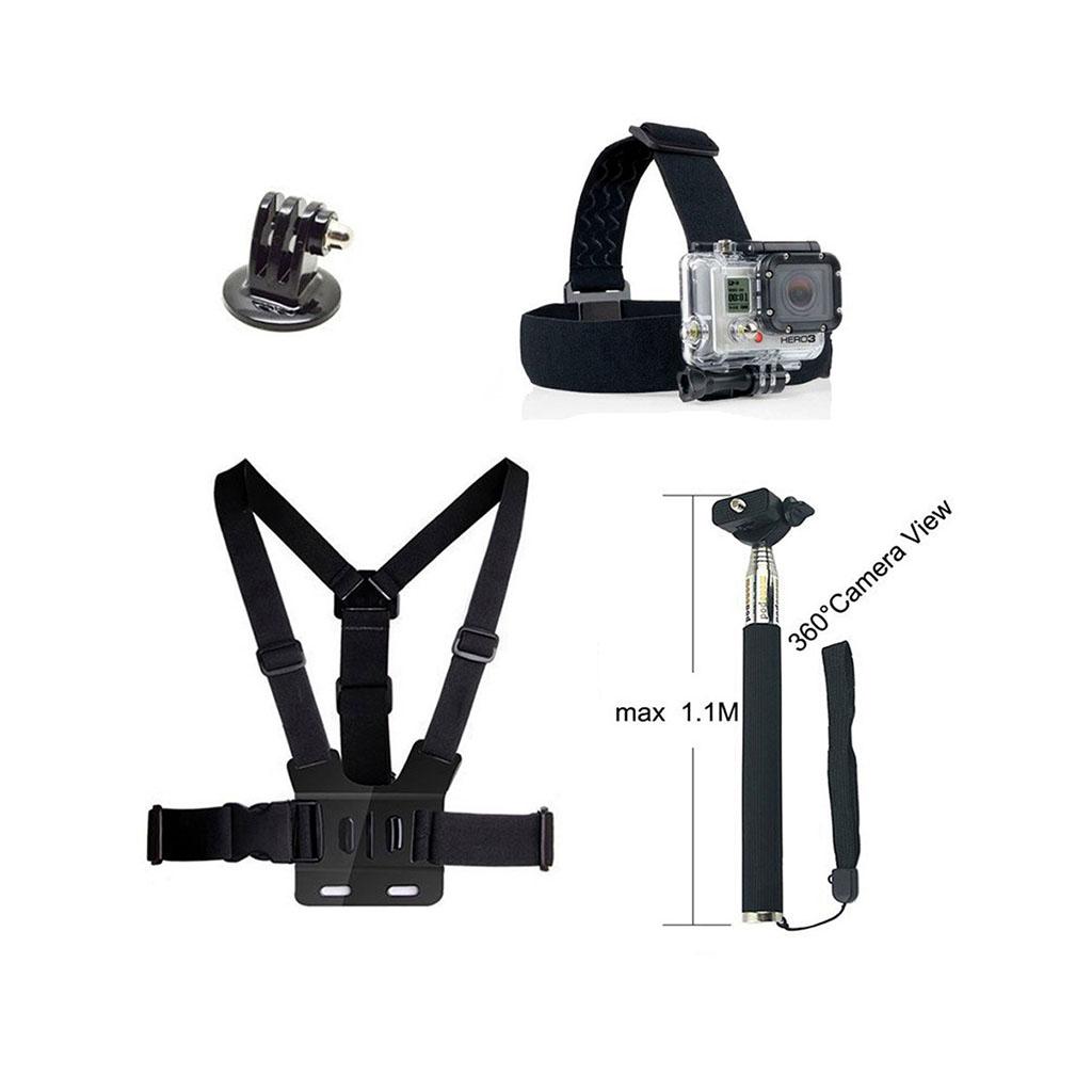 Image of   4-i-1 tilbehørskit til action kameraer med brystbælte og monopod med timer