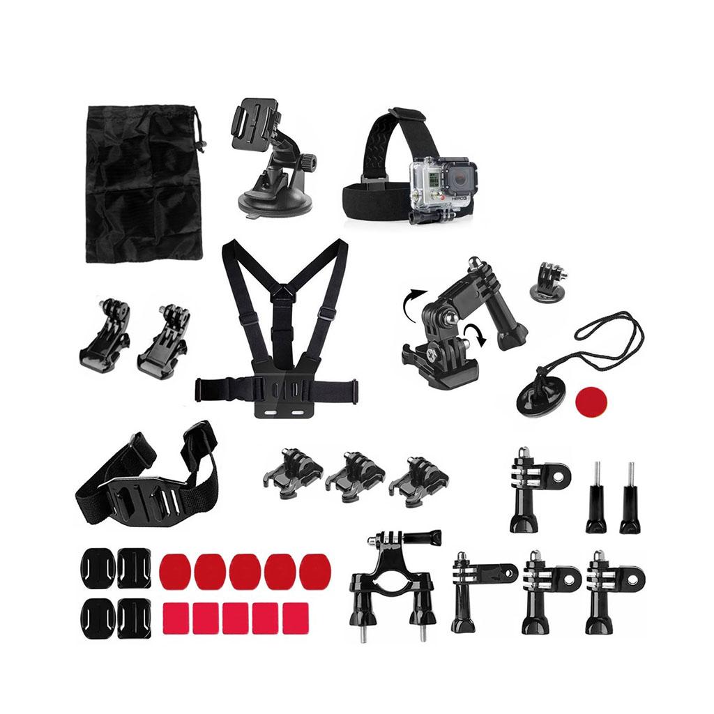 Image of   34-i-1 tilbehørskit til action kameraer med brystbælte og cykelbeslag