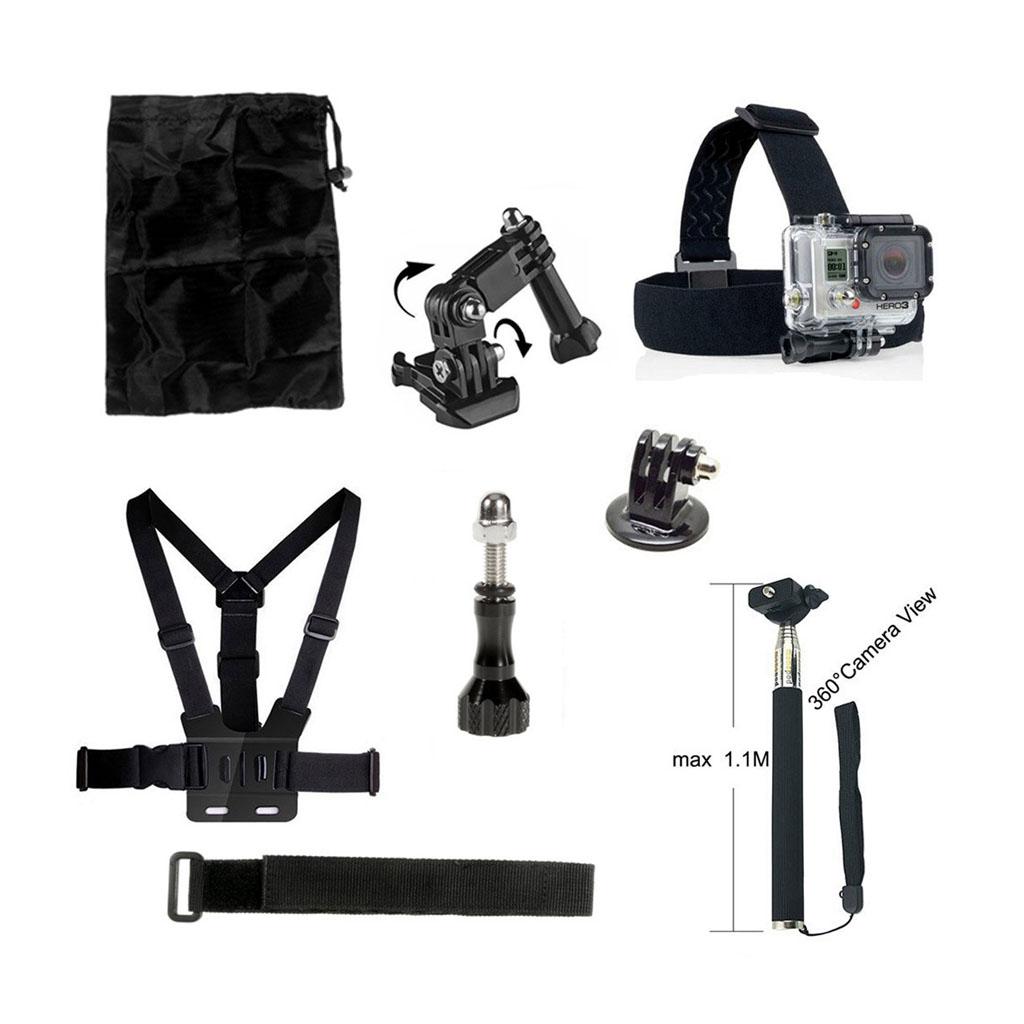 8-i-1 tilbehørskit til action kameraer med brystbælte og monopod