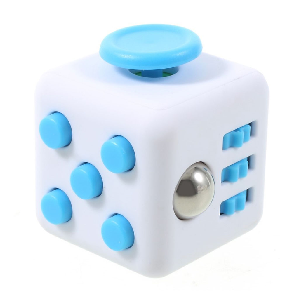 Image of   Fidget Cube stress reliever - White/Blue