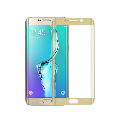 Image of   0.1mm PET kurvet fuldt ud beskyttende skærmbeskytter til Samsung Galaxy S6 edge Plus - Guld