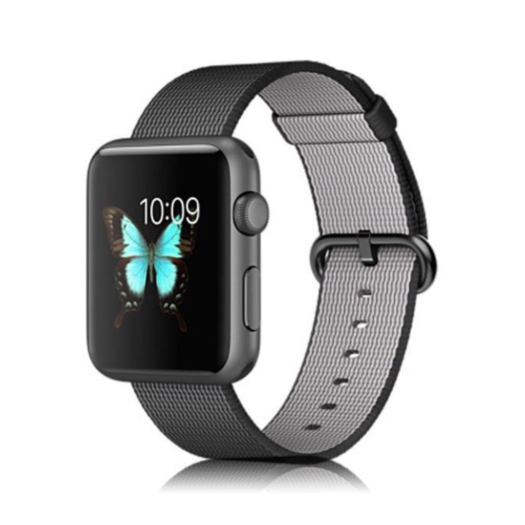 Image of   Apple Watch 42mm stilfuld nylon urrem - Sort