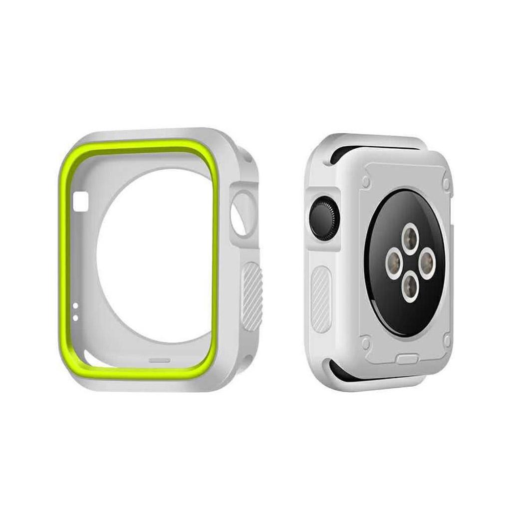 Image of   Apple Watch 42mm To-farvet silikone cover - Hvid/grøn