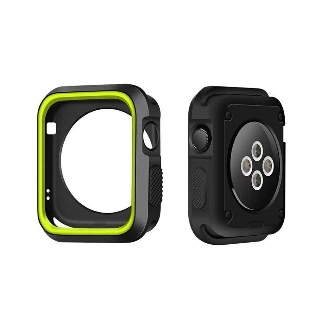 Image of   Apple Watch 42mm To-farvet silikone cover - Sort/grøn