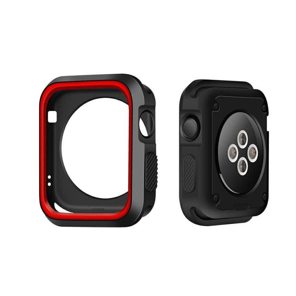 Image of   Apple Watch 42mm To-farvet silikone cover - Sort/rød