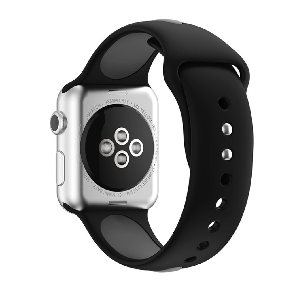 Image of   Apple Watch 42mm To-farvet silikone rem - Sort/Grå