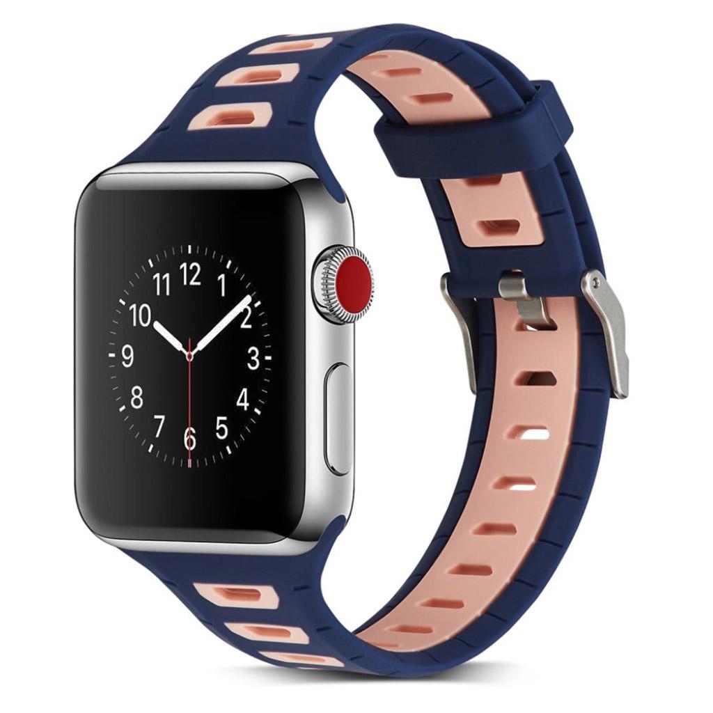 Image of   Apple Watch 42mm to-farvet silikone cover - Mørkeblå/pink