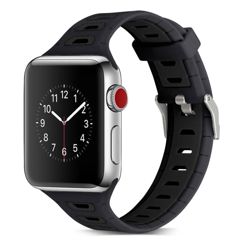 Image of   Apple Watch 42mm to-farvet silikone cover - Mørkeblå/sort