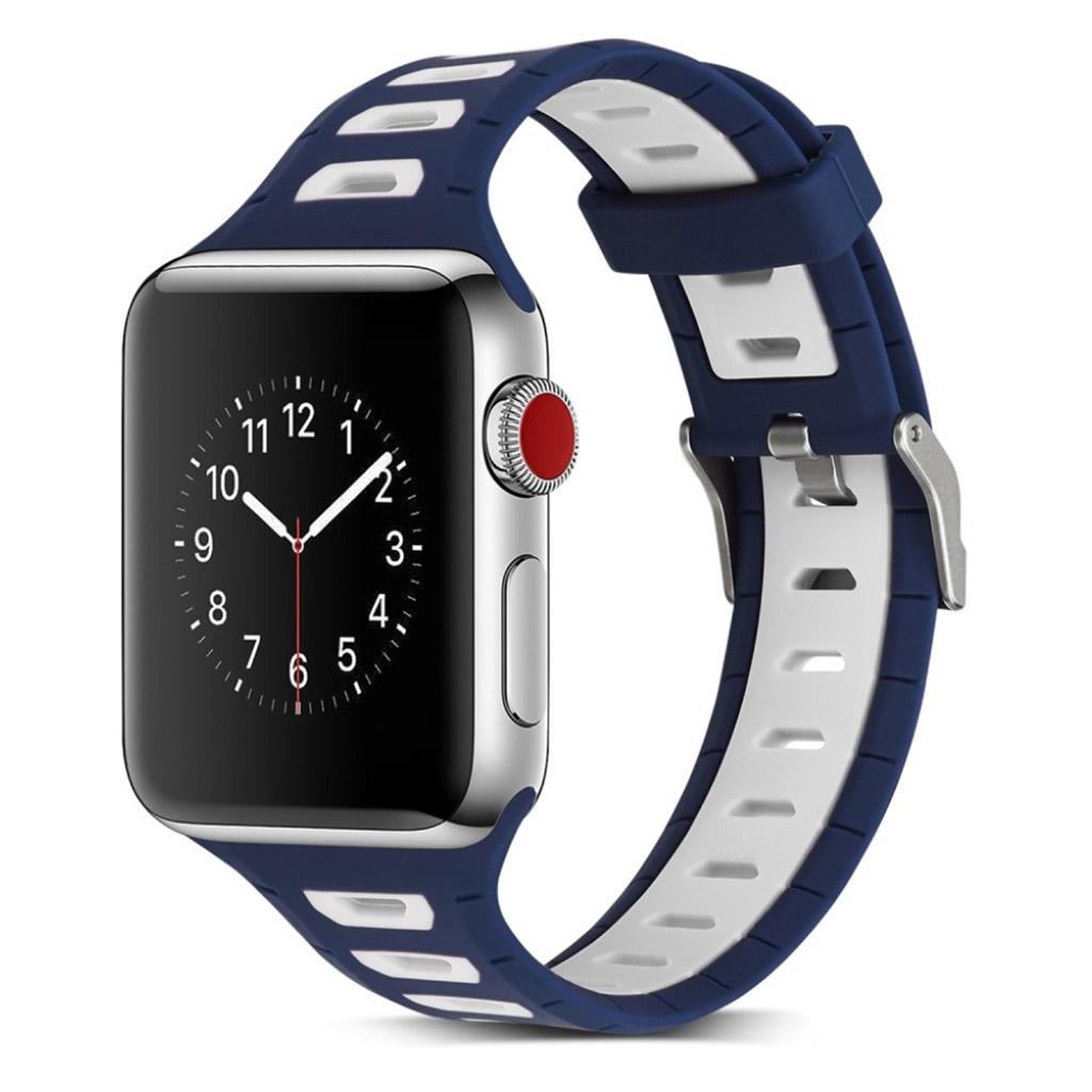 Image of   Apple Watch 42mm to-farvet silikone cover - Mørkeblå/hvid