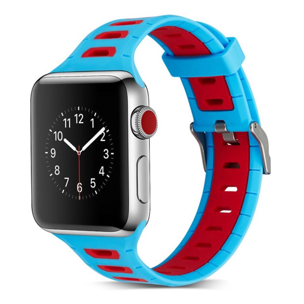 Image of   Apple Watch 42mm to-farvet silikone cover - Mørkeblå/rød