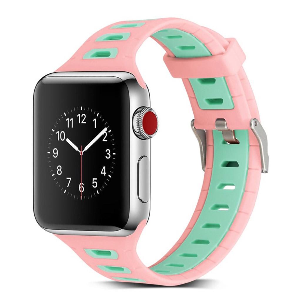 Image of   Apple Watch 42mm to-farvet silikone cover - Mørkeblå/grøn
