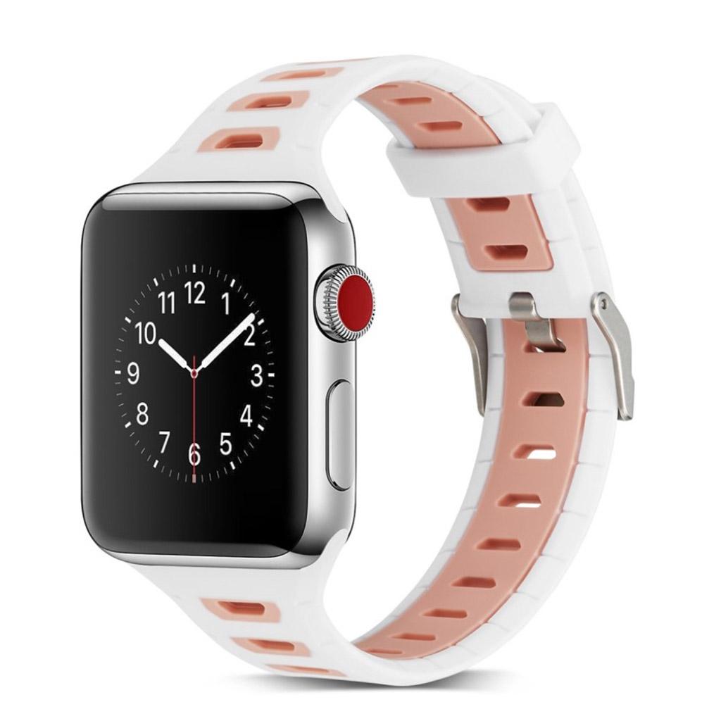 Image of   Apple Watch 42mm to-farvet silikone cover - Mørkeblå/lyserød
