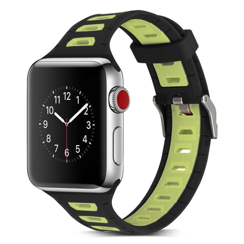 Image of   Apple Watch 42mm to-farvet silikone cover - Mørkeblå/gul
