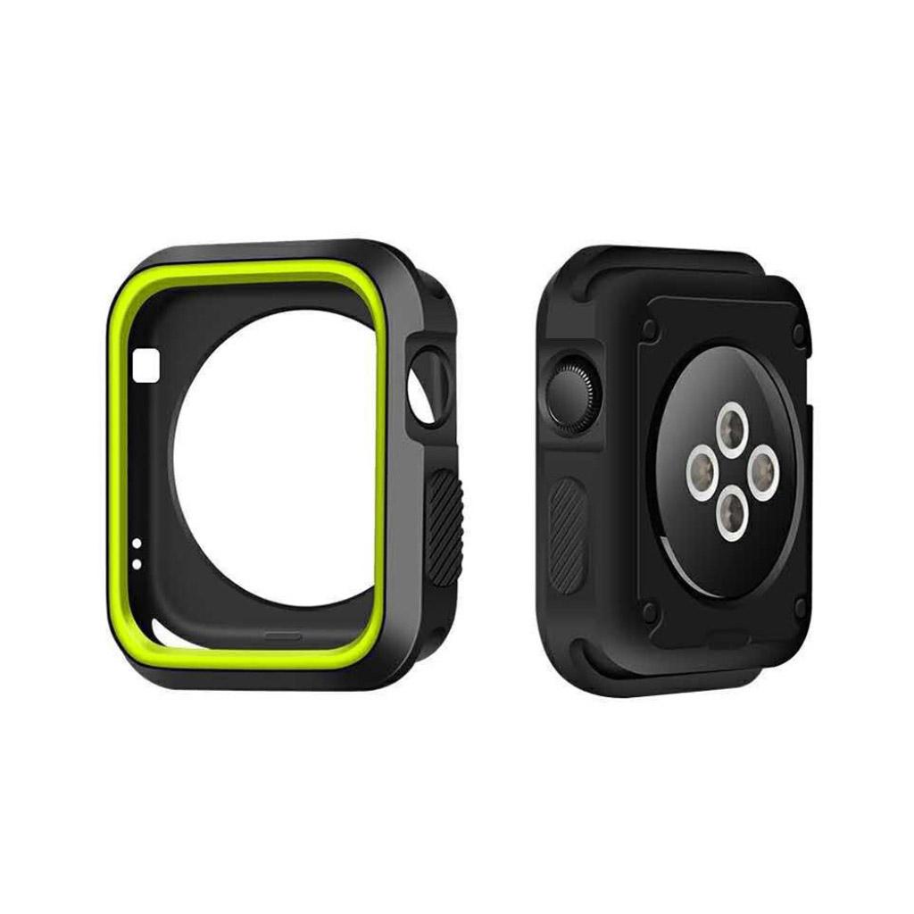 Image of   Apple Watch 38mm Silikone cover - Sort/grøn