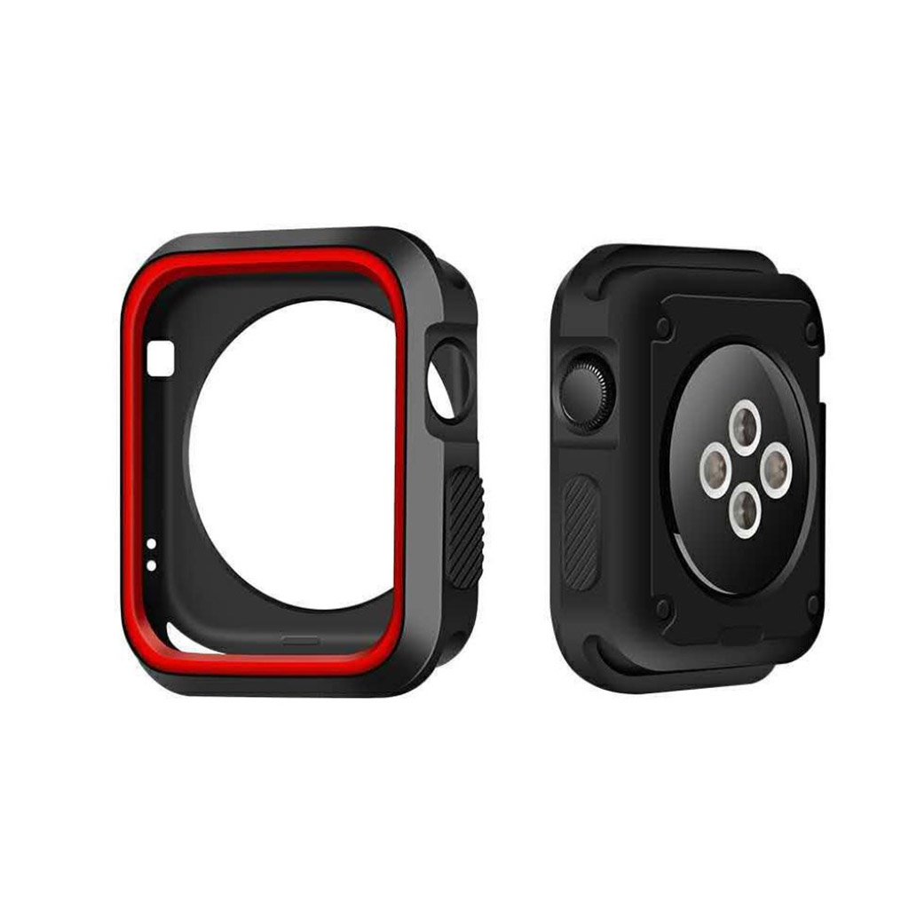 Image of   Apple Watch 38mm Silikone cover - Sort/rød