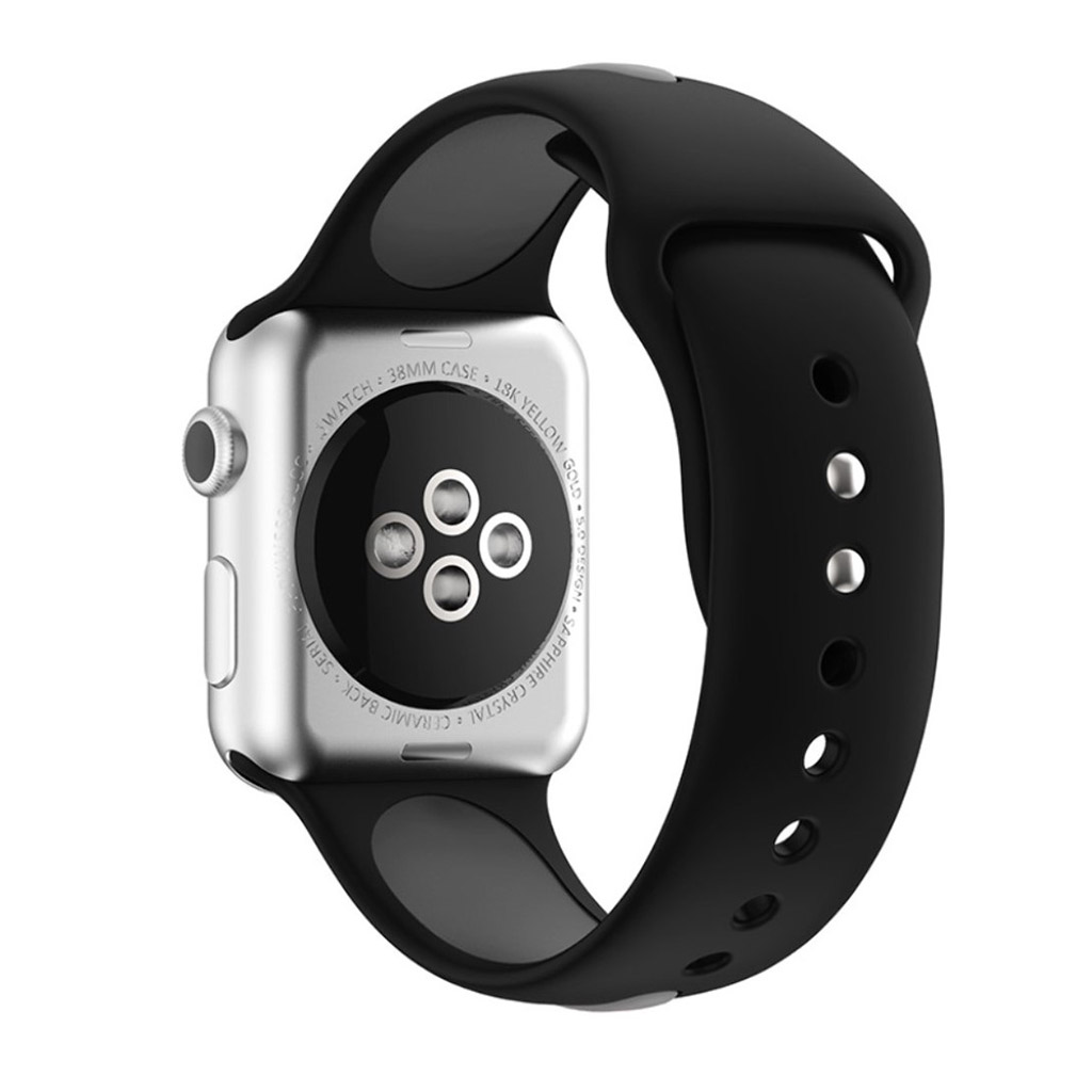 Image of   Apple Watch 38mm Silikone rem - Sort/grå