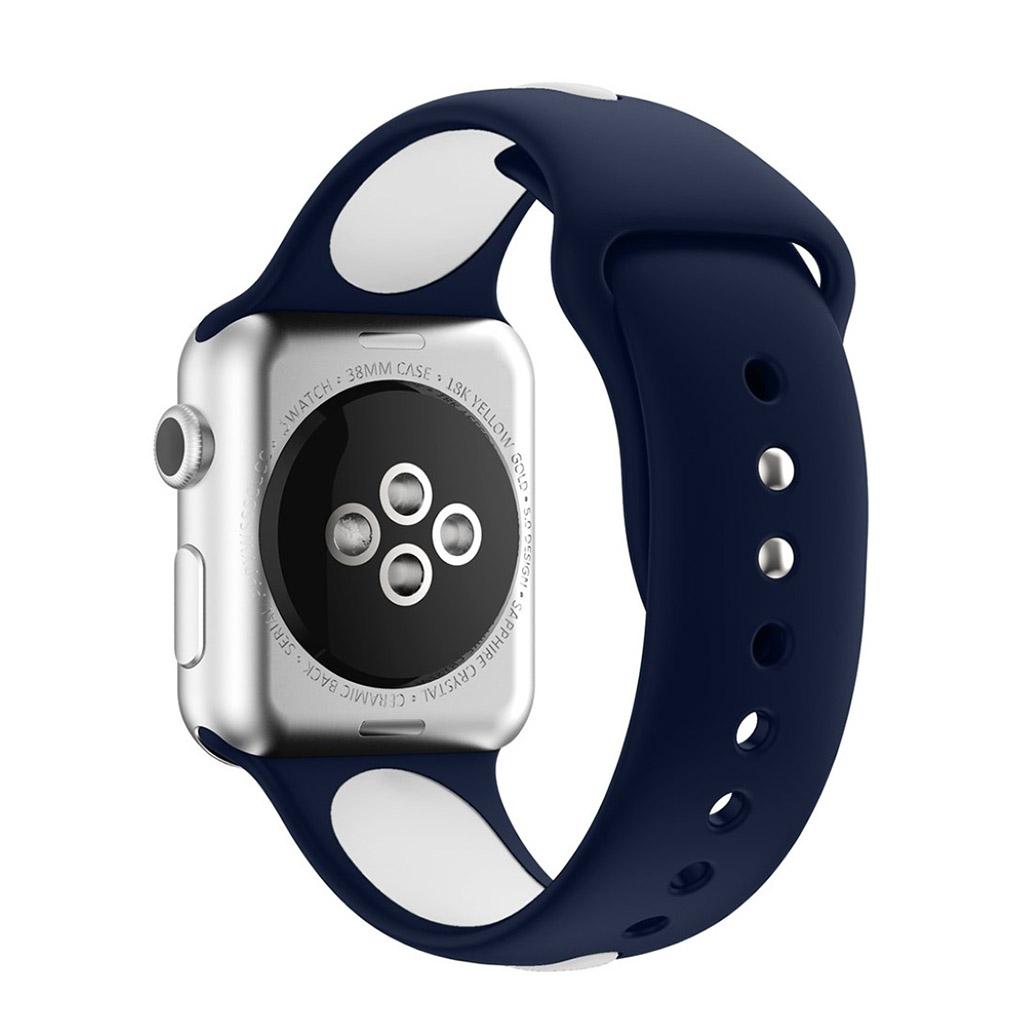 Image of   Apple Watch 38mm Silikone rem - Blå/hvid
