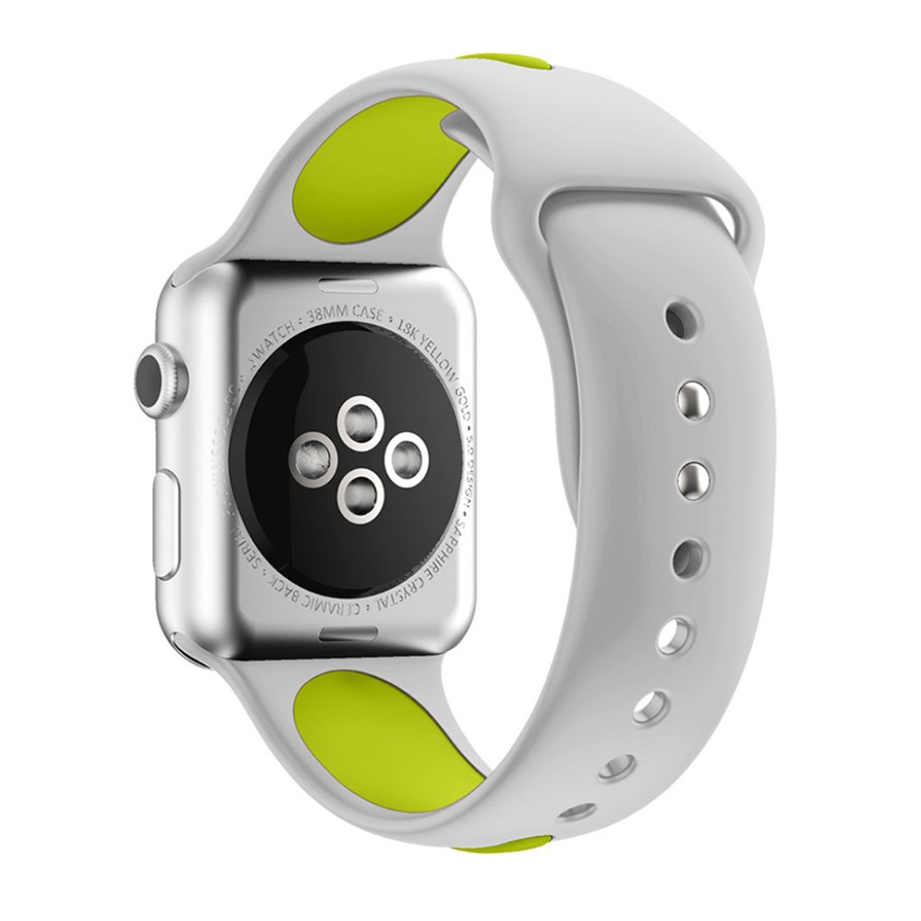 Image of   Apple Watch 38mm Silikone rem - Grå/grøn