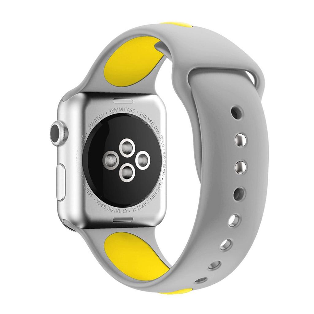 Image of   Apple Watch 38mm Silikone rem - Grå/gul