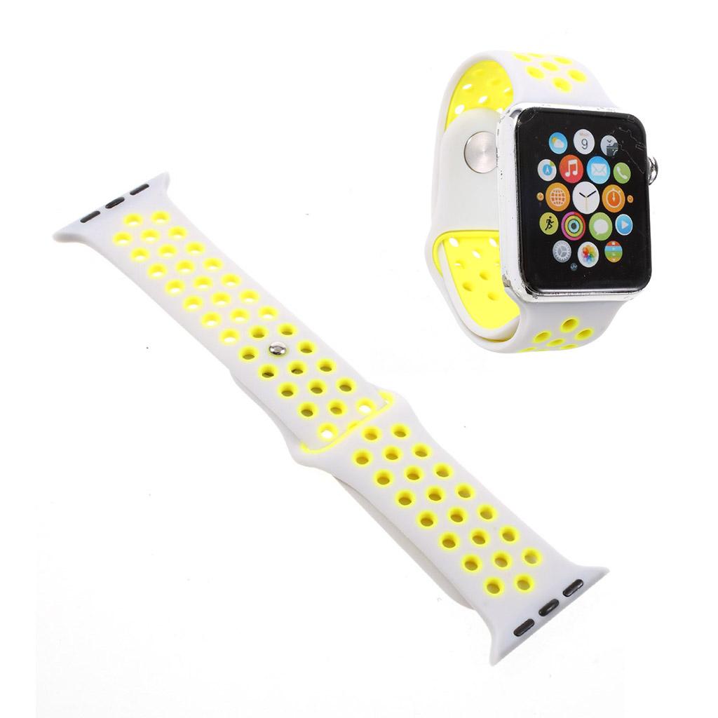 Image of   Apple Watch 38mm silikone rem - Gul/hvid