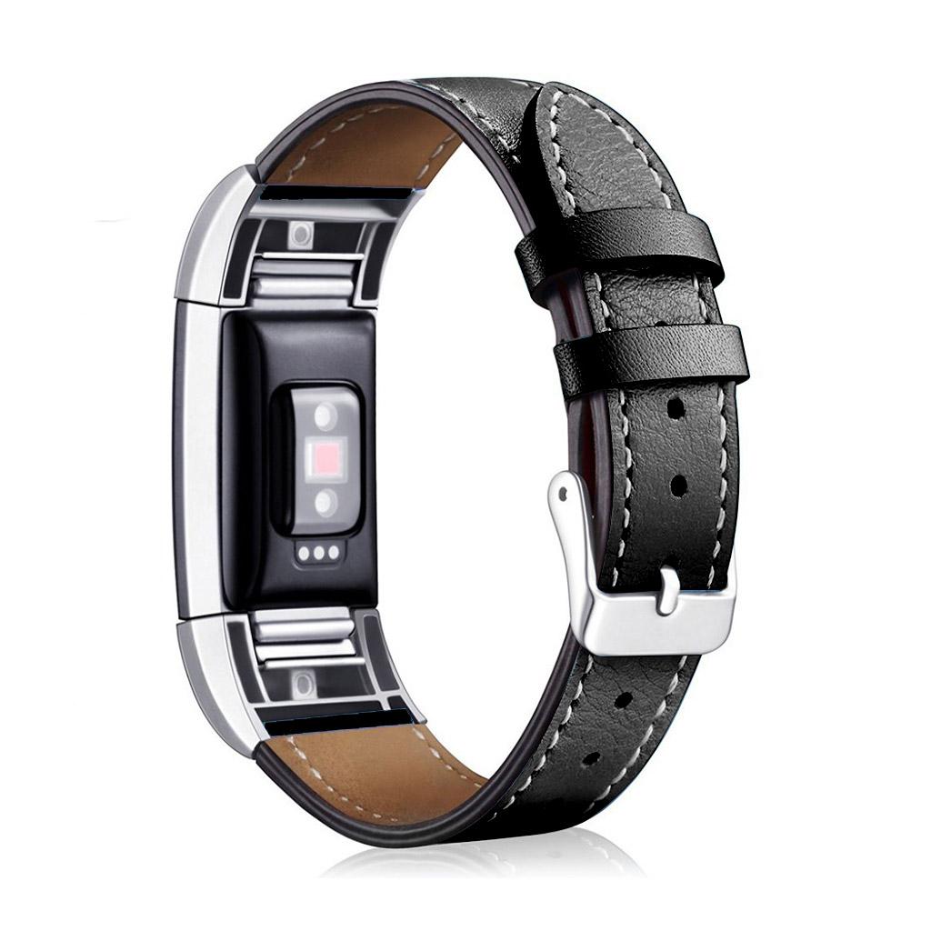 1f5c1155481 Fitbit Charge 2 armbånd af ægte læder Sort