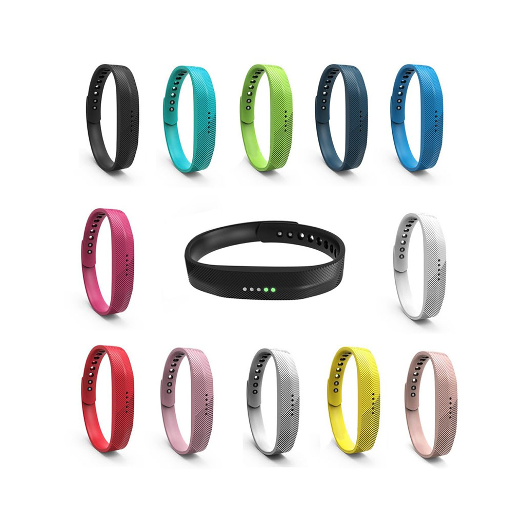Image of   12 stk Fitbit Flex 2 snap-on urremme i silicone Str M-L