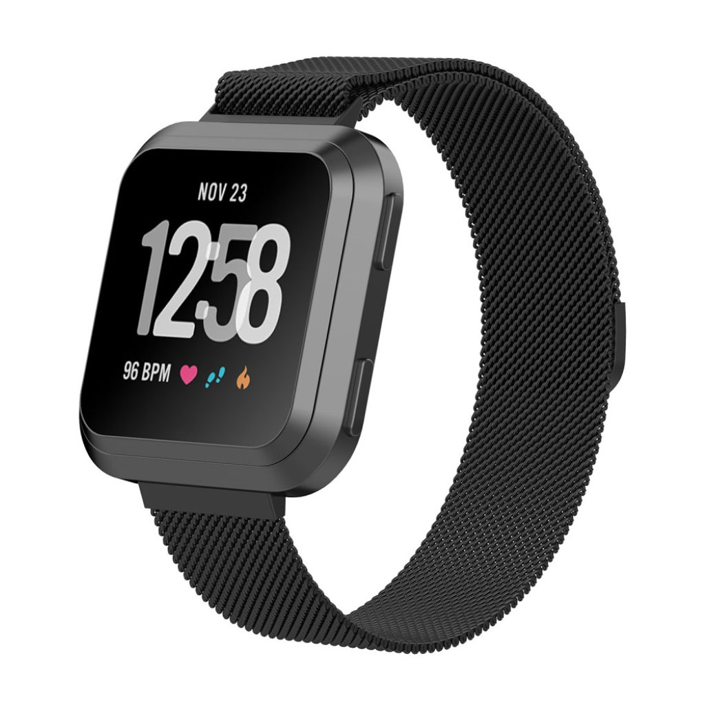 Fitbit Versa milanese stainless steel watchband - Size: S / Black