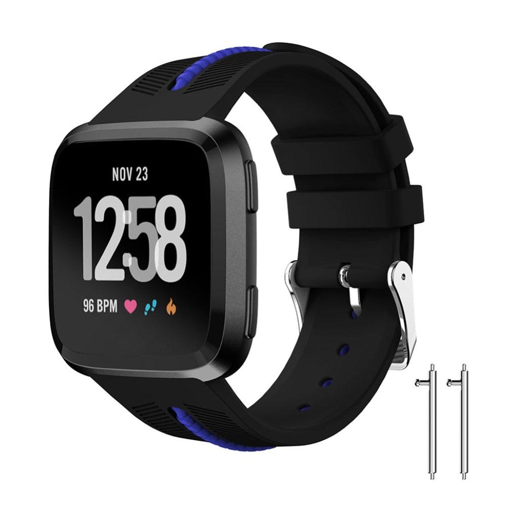 Fitbit Versa silikone erstatnings-urrem i to farver - Sort/Blå