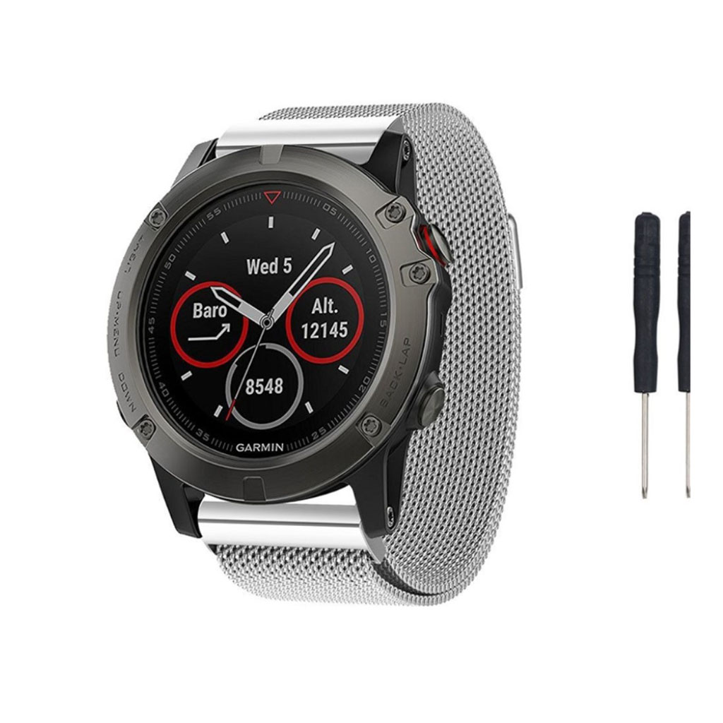 Image of   Garmin Fenix 5X luxury milanese stainless steel watchband - Silver