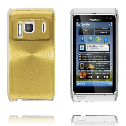 Aluminium Shield Transparent Kant (Guld) Nokia N8 Cover