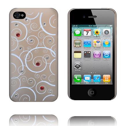 Hvide Spiraler - Matt Transparent (Grå) iPhone 4S Cover