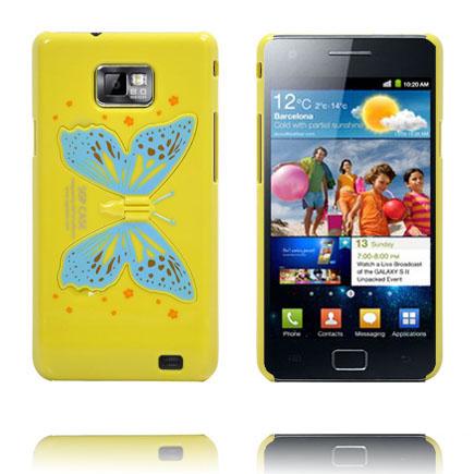 Butterfly Wings - Foldbar Holder (Gul) Samsung Galaxy S2 Cover