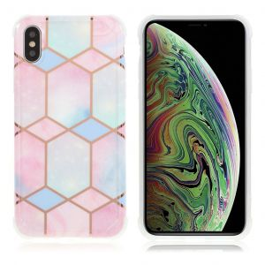 Marble iPhone Xs Max case - Hexagonal Pink and Cyan Marble