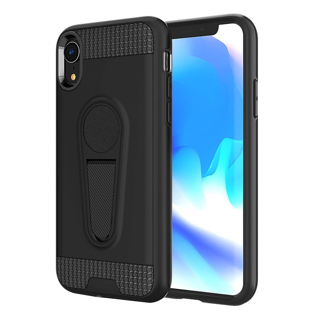 Image of   iPhone Xr carbon fiber kickstand combo case - Black