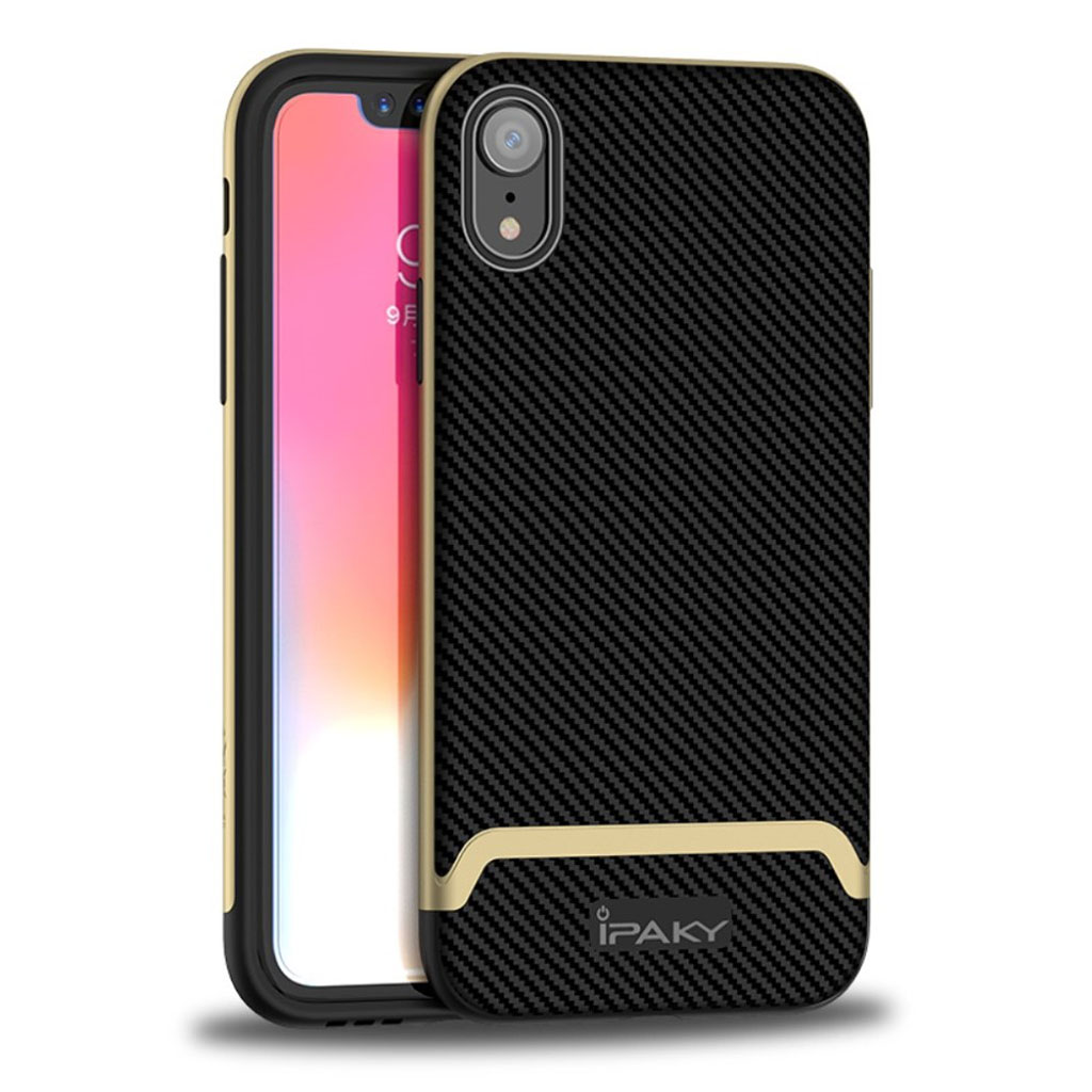 Image of   IPAKY iPhone Xr carbon fiber case - Black / Gold