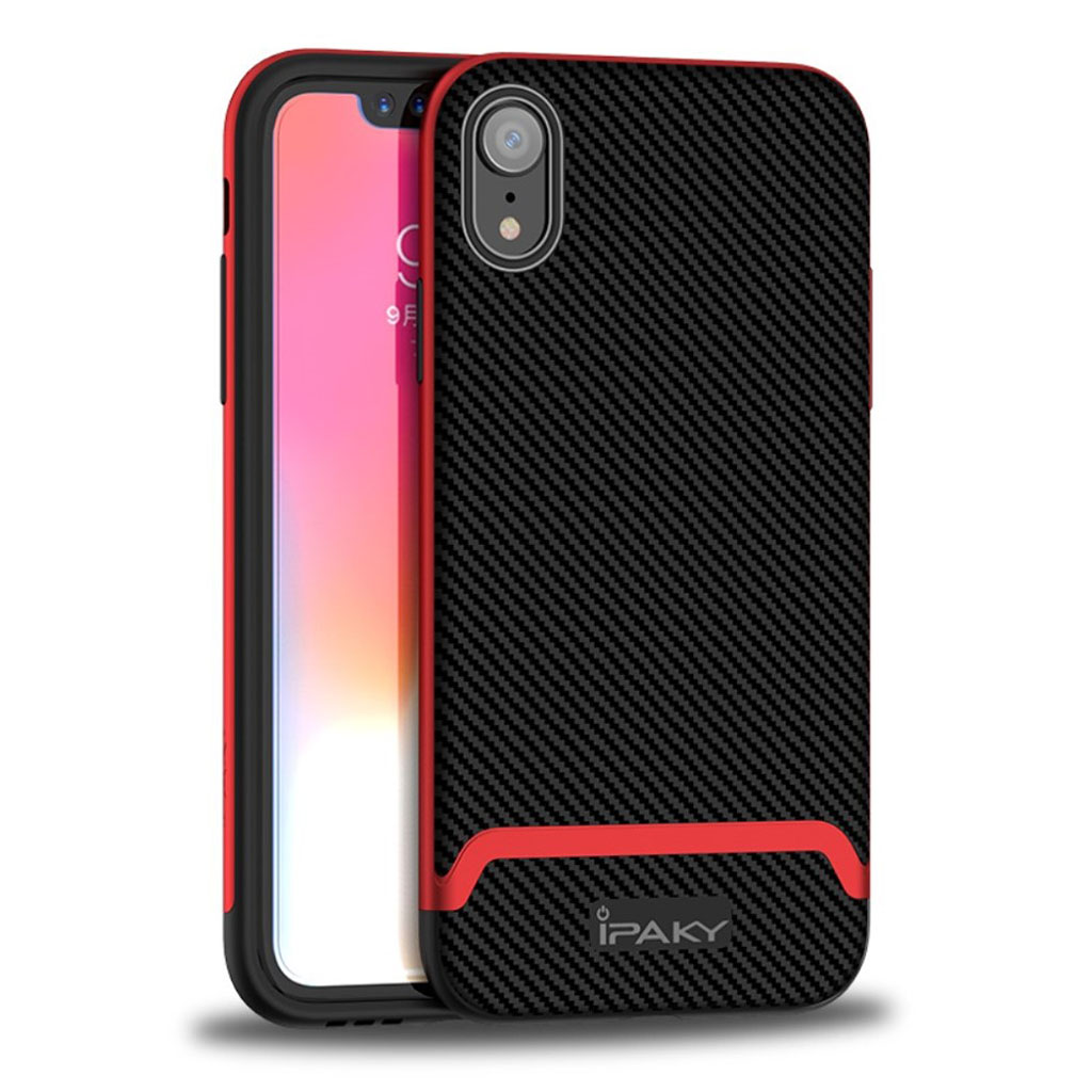 Image of   IPAKY iPhone Xr carbon fiber case - Black / Red