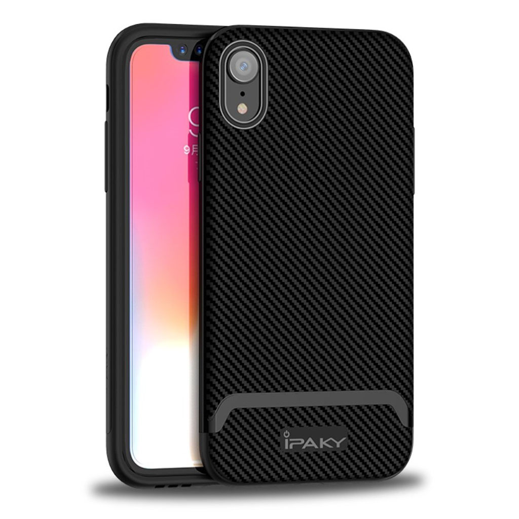Image of   IPAKY iPhone Xr carbon fiber case - All Black