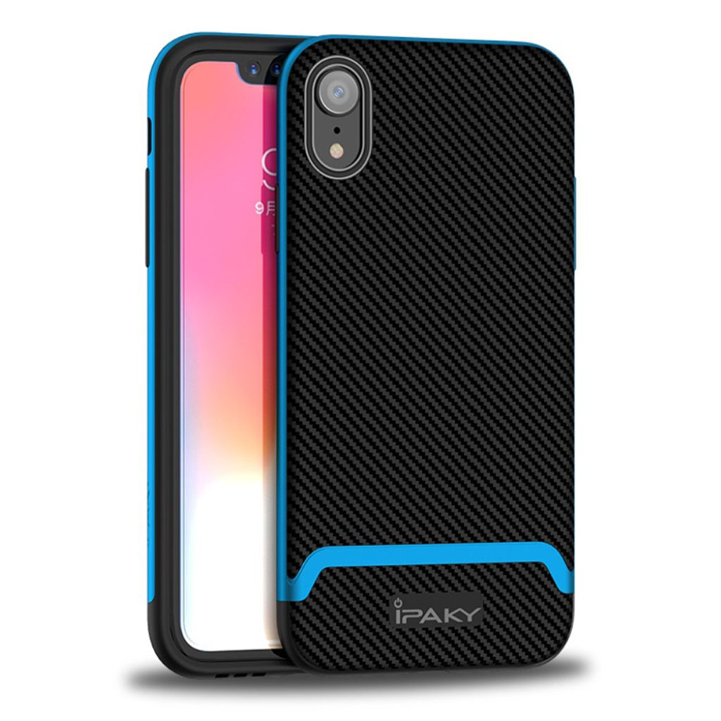 Image of   IPAKY iPhone Xr carbon fiber case - Black / Blue