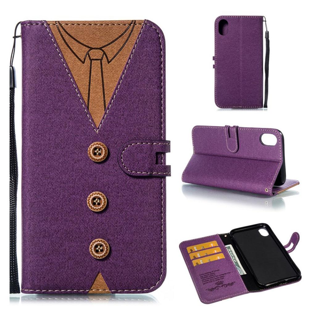 iPhone Xr mobiletui i kunstlæder med indgraveret slips - Lilla