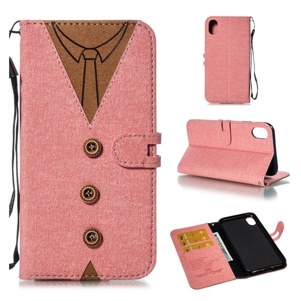 iPhone Xr mobiletui i kunstlæder med indgraveret slips - Lyserød