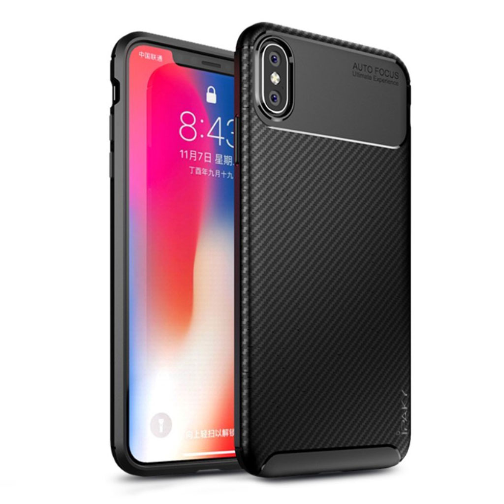 Image of   IPAKY iPhone Xs Max carbon fiber soft case - Black