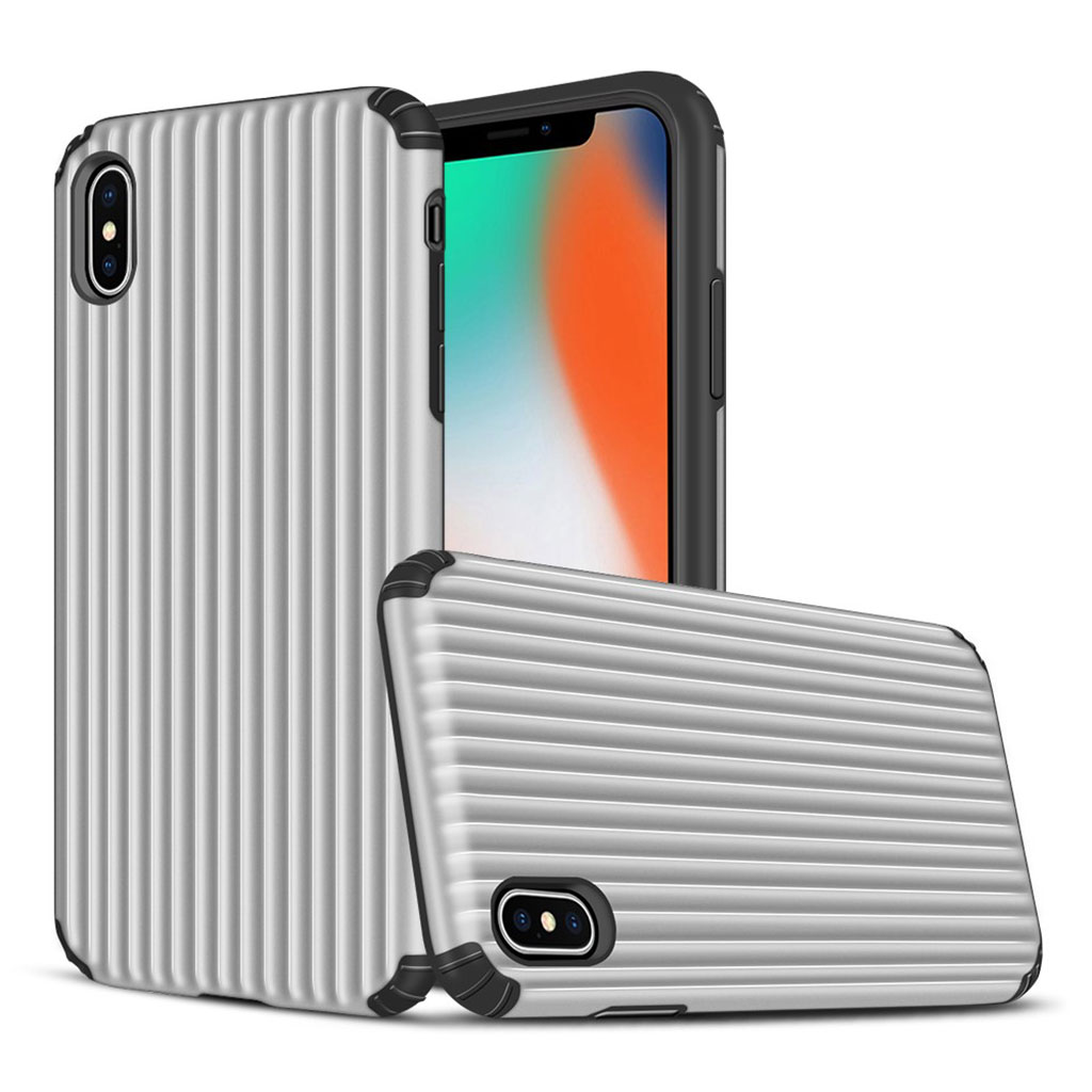 iPhone Xs Max suitcase shape hybrid case - Silver