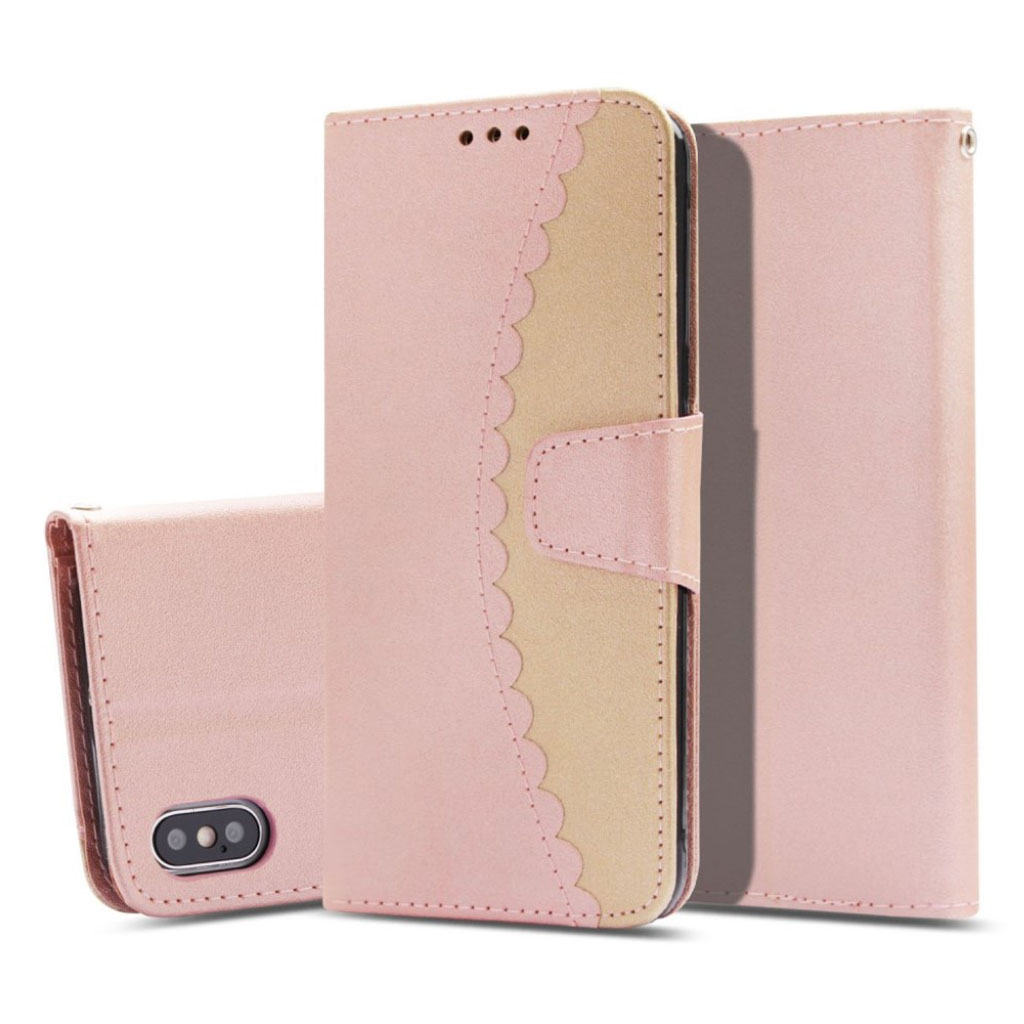 premium selection ea7c8 e9643 Image of iPhone Xs Max bi-color splicing leather flip case - Rose Gold