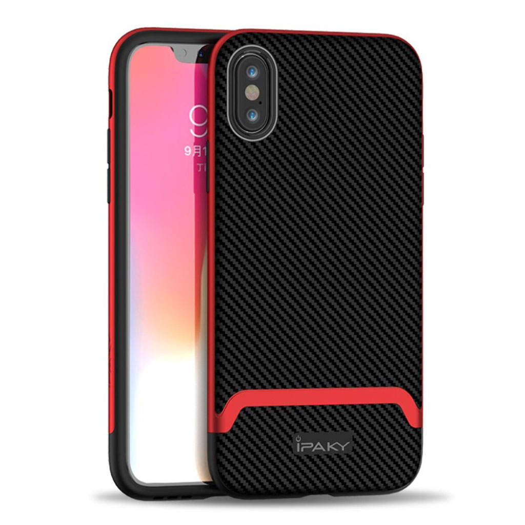 Image of   IPAKY iPhone XS carbon fiber hybrid case - Black / Red