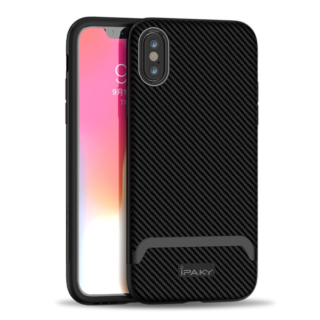 Image of   IPAKY iPhone XS carbon fiber hybrid case - All Black