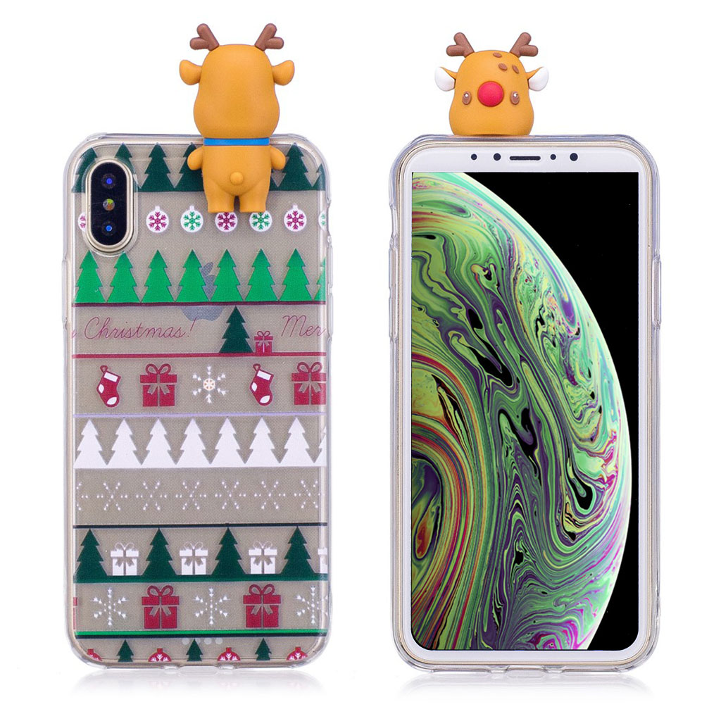 iPhone XS beskyttelsesetui i silikone med 3D dukker og julemønster - Juletræ og gaver