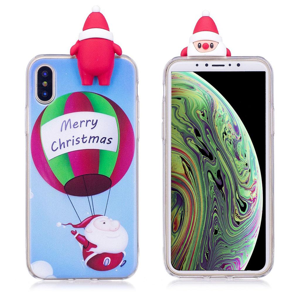 iPhone XS beskyttelsesetui i silikone med 3D dukker og julemønster - Julemanden og ballon
