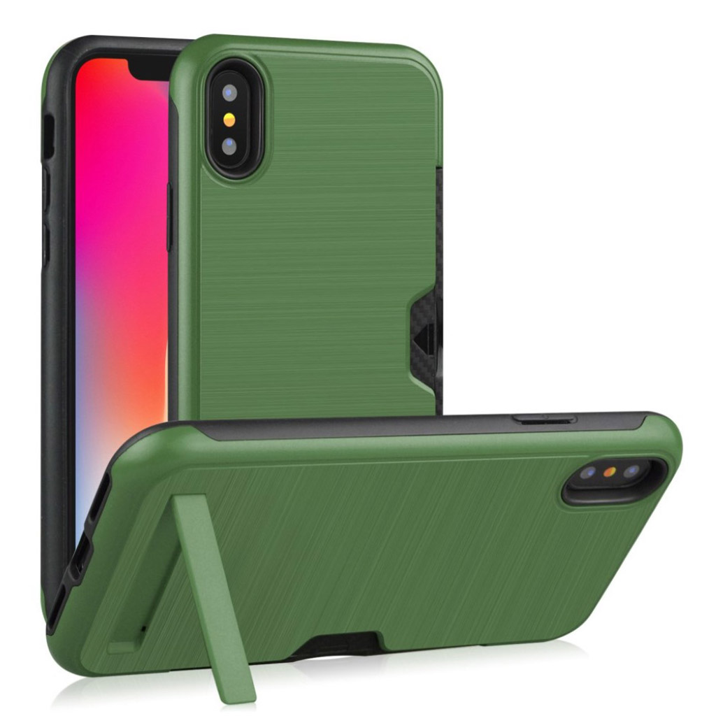 iPhone XS kickstand penslet etui - Army Grøn
