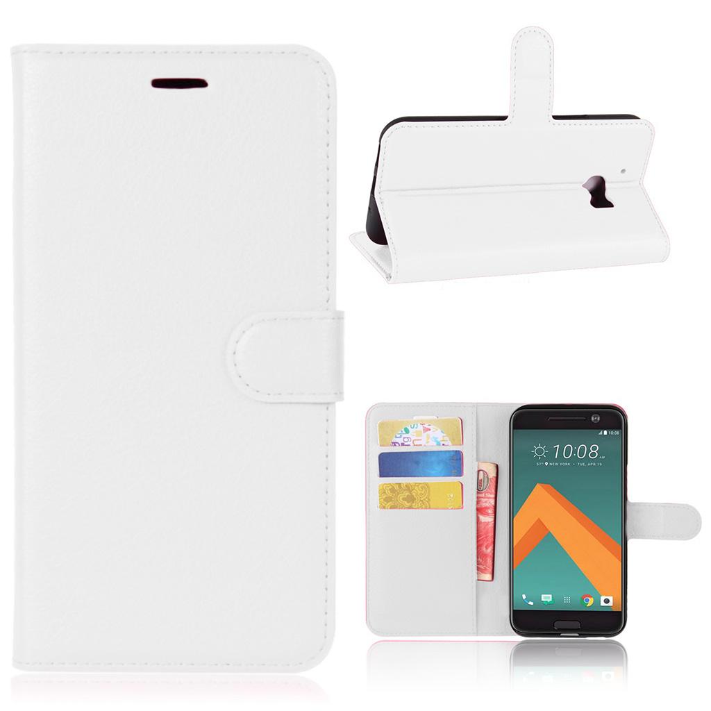 Mankell flip-etui i læder med litchi overflade til HTC 10 - Hvid
